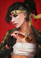 Картинки Overwatch Очки Hanzo Игры Девушки