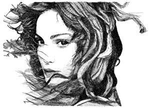 Картинки Рисованные Лицо Черно белое Белый фон Волосы Девушки