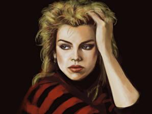 Фотографии Рисованные Блондинка Волосы Руки Лицо Kim Wilde Знаменитости Девушки