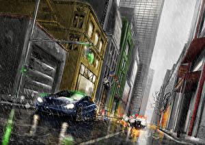 Фото Рисованные Дождь Дома Улице Города