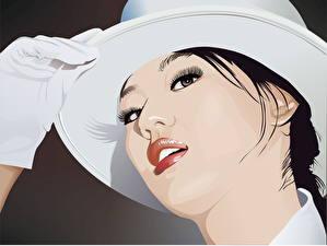 Обои Рисованные Векторная графика Лицо Шляпа Перчатки Девушки