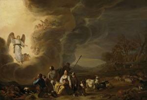 Обои Картина Ангелы Cornelis Saftleven, The annunciation to the shepherd