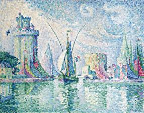 Картинки Картина Лодки Парусные Artangle Paul Signac, The Green Tower, La Rochelle