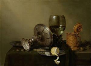 Фото Картина Лимоны Натюрморт Бокалы Willem Claesz. Heda, Stilleven met vergulde bierkan