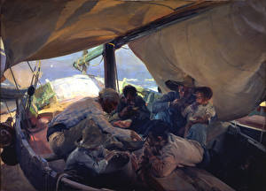 Картинки Картина Мужчины Лодки Парусные Joaquín Sorolla, Lunch on the Boat