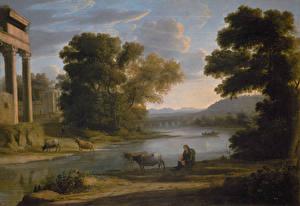 Фотография Картина Пейзаж Claude Lorrain, Landscape with Cowherd (Evening)