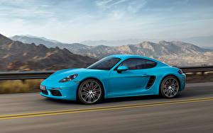 Картинка Порше Голубой Сбоку Едущий Cayman Авто