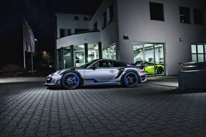 Фотография Порше Тюнинг Серебристый Сбоку 2016-17 TechArt 911 Turbo GT Street R (991) Автомобили