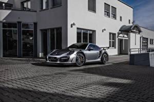 Обои Porsche Стайлинг Серебристый 2016-17 TechArt 911 Turbo GT Street R (991) Автомобили