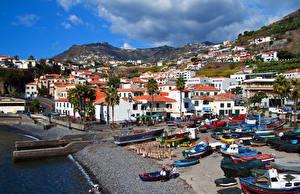 Картинки Португалия Здания Берег Лодки Madeira
