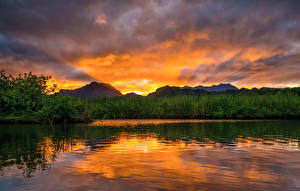 Фотографии Речка Рассветы и закаты Небо Штаты Гавайи Кусты Природа