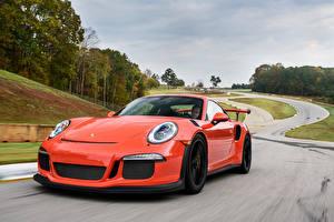 Обои Дороги Порше Оранжевый Едущий 911, GT3 Автомобили