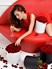 Картинка Розы Игристое солнцедар Шатенка Бокалы Девушки