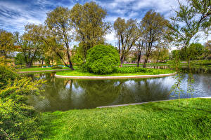 Картинки Россия Санкт-Петербург Пруд Парки Деревья Кусты Yusupovsky Garden Природа