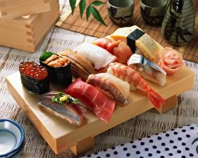 Фотографии Морепродукты Суши Рыба Икра