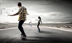 Обои Скейтборд Мужчины Дороги Тренировка Спорт Девушки
