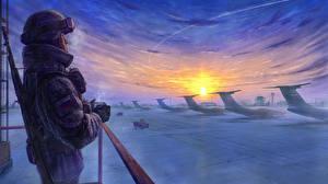Картинки Солдаты Самолеты Зимние Рисованные Автоматы Русские Армия