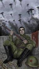 Фотографии Солдаты Рисованные Самолеты Винтовки Российские The battle of Stalingrad