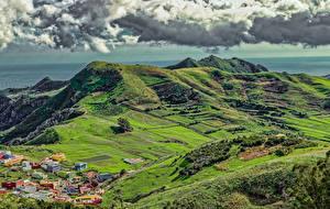 Фото Испания Поля Небо Дома Канары Холм Облака La Cumbrilla Природа