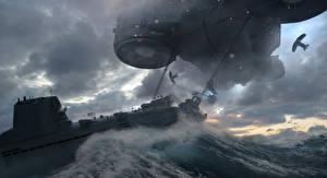 Картинка Подводные лодки Техника Фэнтези Wolfenstein II: The New Colossus Игры