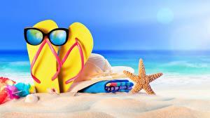 Фотография Лето Морские звезды Сланцы Очки Песок