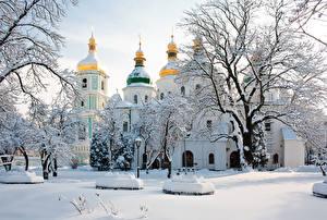 Фотографии Храмы Зимние Украина Киев Собор Снеге Saint Sophia's Cathedral город