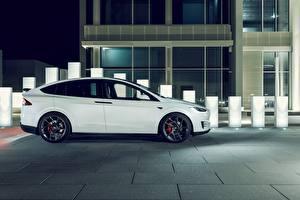 Фотографии Тесла моторс Белый Сбоку 2017 Novitec Model X Автомобили