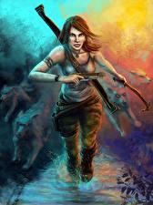 Обои Tomb Raider 0013 Волки Пистолеты Воители Лара Крофт Игры Девушки