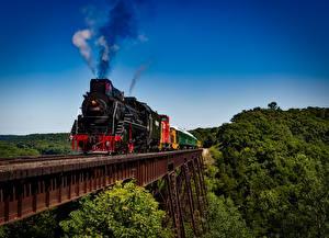 Обои Поезда Железные дороги Мосты Дым