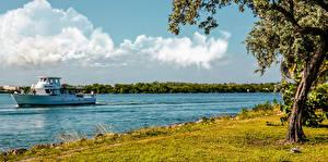 Обои Америка Берег Катера Флорида Майами Природа