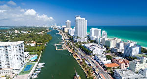 Картинка Штаты Дома Причалы Флорида Майами Улица Залива город