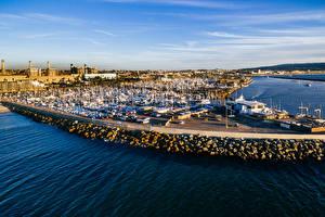 Картинки Штаты Пирсы Берег Катера Яхта Калифорния Залив Redondo Beach
