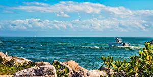 Картинка США Катера Небо Океан Флорида Майами Облако Природа