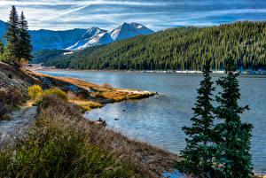Картинки США Горы Леса Речка Побережье Пейзаж Copper Mountain Colorado