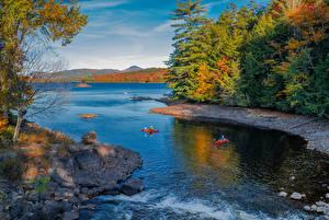 Картинка Штаты Речка Лодки Берег Деревья Speculator Природа
