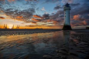 Обои Штаты Пейзаж Рассветы и закаты Маяки Небо Побережье Облака Shoreline Природа