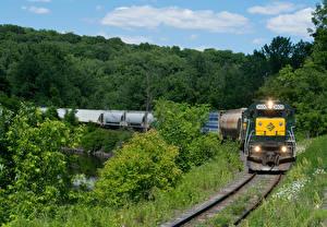 Картинки Штаты Поезда Железные дороги Леса Локомотив Massachusetts
