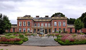 Картинки Великобритания Дома Фонтаны Особняк Colwick Hall Nottingham Города