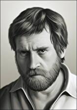 Фото Владимир Высоцкий Мужчины Рисованные Взгляд Борода Черно белое Знаменитости