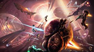 Картинка Воины Фантастический мир Сражения Корабли Фантастика Космос Девушки