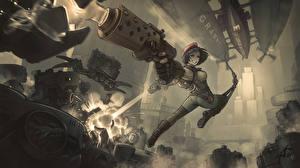 Обои Воители Пистолеты Прыжок Red Riding Hood Steam/dieselpunk Фантастика