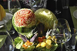 Фотографии Арбузы Розы Дизайн Пища
