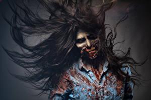 Фотографии Зомби Волосы Ужасные Фантастика Девушки