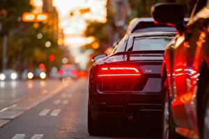 Картинка Audi Вид сзади Фары R8 Автомобили