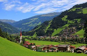 Фотография Австрия Дома Лес Горы Zillertal valley Города