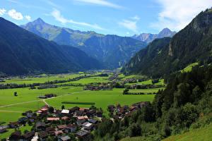 Картинка Австрия Горы Здания Schwendau Village Города