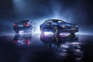 Фото BMW Голубых Отражение Alpine Автомобили