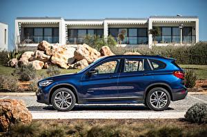 Обои BMW Сбоку Синий xDrive, Sport Line, 2015, F48 Авто