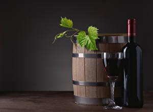 Картинки Бочка Вино Бутылка Бокалы Листва
