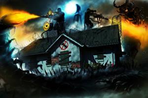 Картинки Сражения Чудовище Ночные